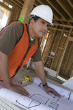 Architect With Blueprint At Site stock image