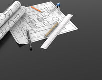 Architect blueprint and stationary tool background with clipping Stock Photos