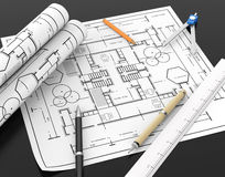 Architect blueprint and stationary tool background with clipping Royalty Free Stock Photography