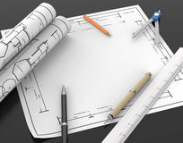 Architect blueprint and stationary tool background with clipping Royalty Free Stock Images