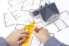 Architect with blueprints royalty free stock image