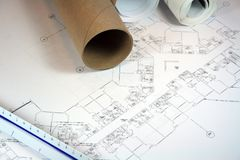Architect Blueprints. And ruler on workspace Stock Photography