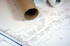 Architect Blueprints Stock Photography