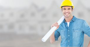 Architect with blueprints on building site Royalty Free Stock Photography