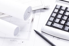 Architect blueprints equipment objects workplace Stock Photo