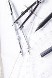Architect blueprints equipment objects workplace Stock Photos