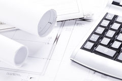 Architect blueprints equipment objects workplace Stock Images
