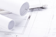 Architect blueprints equipment objects workplace Royalty Free Stock Photos