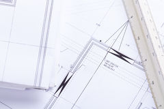 Architect blueprints equipment objects workplace Royalty Free Stock Photography