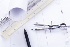 Architect blueprints equipment objects workplace Royalty Free Stock Photo