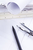 Architect blueprints equipment objects workplace Stock Photography
