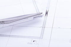 Architect blueprints equipment objects workplace Royalty Free Stock Image
