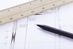 Architect blueprints equipment objects workplace Stock Image
