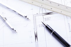 Architect blueprints equipment objects workplace Royalty Free Stock Images
