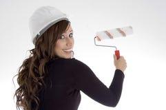 architect brush helmet paint woman Στοκ Φωτογραφία