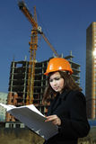 Architect on build area Royalty Free Stock Image
