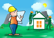 Architect build house. Illustration of a businessman holding a paper of designing a database plan on workers build house background stock illustration