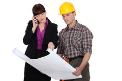 Architect with a builder Stock Photo
