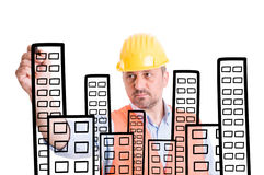 Architect or builder drawing buildings with marker Royalty Free Stock Images