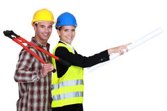 Architect and builder Royalty Free Stock Photos