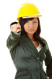 Architect or builder wearing a yellow hart hat Stock Image