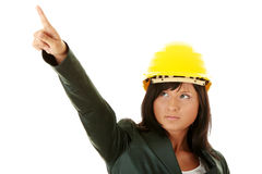 Architect or builder wearing a yellow hart hat Royalty Free Stock Photo
