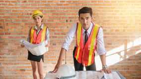 Architect builder and woman engineer Stock Photography