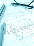 Architect building plan, hotel royalty free stock photo