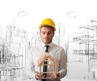 Architect with building project Stock Image