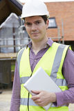 Architect On Building Site With Digital Tablet Stock Image