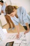 Architect checking blueprint Royalty Free Stock Photo
