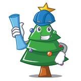 Architect Christmas tree character cartoon. Vector illustration Stock Photography