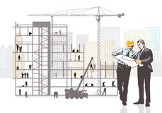 Architect and client monitoring construction Stock Images