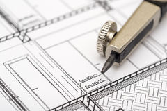 Architect Compass And Plan Royalty Free Stock Photo