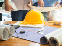 Architect concept, Architects working with blueprints Royalty Free Stock Image