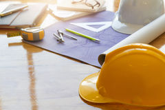 Architect concept, Architects working with blueprints Stock Images