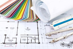 Architect concept of design and project drawings. On table royalty free stock photography