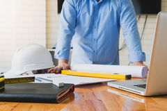 Architect concepts, Architects working with blueprints Royalty Free Stock Images