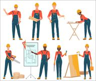 Architect and construction builders workers. Civil engineer. Male and female construction team characters set isolated. royalty free illustration