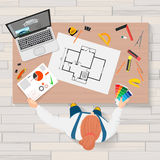 Architect construction engineering planning and creating process with proffesional tools workplace. Projects technical Royalty Free Stock Image