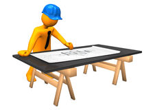 Architect Construction Plan. Orange cartoon character with blue helmet and construction plan. White background Royalty Free Stock Photo