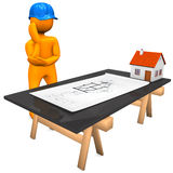 Architect Construction Plan. Orange cartoon character with blue helmet and construction plan. White background Stock Photo