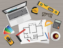 Architect construction planning and creating process with professional tools. Royalty Free Stock Image