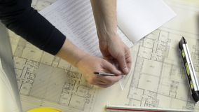 Architect construction project drawing stock footage