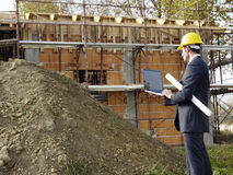 Architect in construction site Royalty Free Stock Images