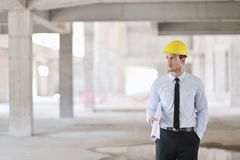 Architect on construction site Royalty Free Stock Photos