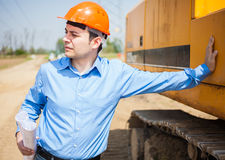 Architect in a construction site Stock Images