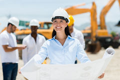 Architect at a construction site Stock Photo