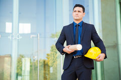 Architect in a construction site Royalty Free Stock Image