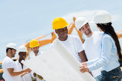 Architect at a construction site Stock Image
